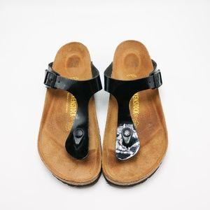 Women's Birkenstock Gizeh Black Patent Sandals
